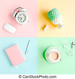 Desk with office accessories with computer, white alarm clock, notepad on colorful background. Trendy minimal style. Flat lay composition. Top view.