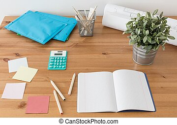 Desk with school supplies