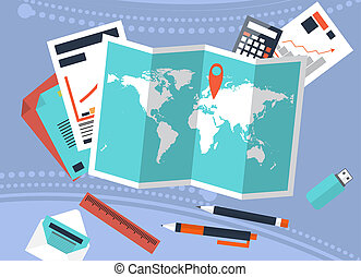 Desk with trip planning and calculation of costs. Graphs, accounting.