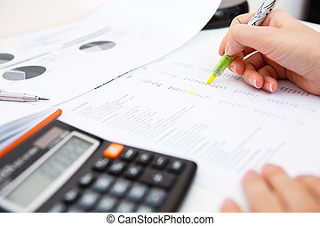 Desk woman with accounting records