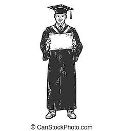 deska, absolwent, diploma., dress., rys, akademicki, drapać...