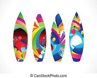 deska, barwny, fale przybrzeżne, abstrakcyjny, komplet