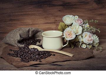 deska, kávové zrno