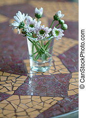 deska, květiny, mozaika