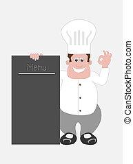 deska, menu, vrchní kuchař