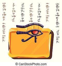 deska, nebo, hlína, kámen, deska, oko, horus