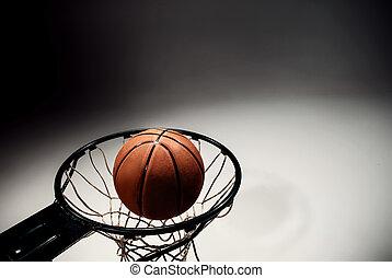deska, piłka, szare tło, koszykówka