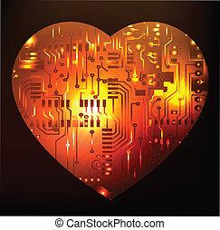 deska, serce, objazd, elektronowy, abst