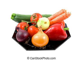 deska, zelenina, čerň, plný, čerstvý
