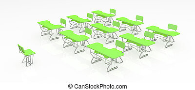 Desks - Green 3d classroom desks in order, over white,...
