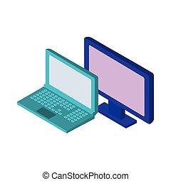 desktop ηλεκτρονικός εγκέφαλος , laptop , απεικόνιση , ...