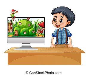 desktop, alf, computer skærm