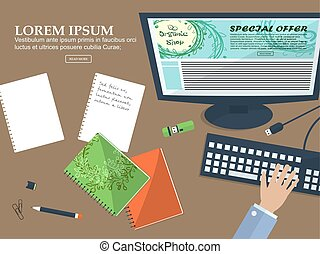 Desktop business man in the office with place for your text. Flat background. Vector