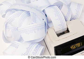 Desktop calculator with strips for computing costs,...