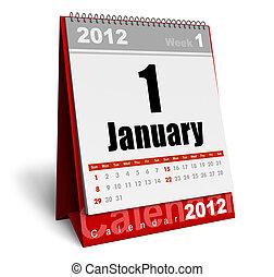 Desktop calendar 2012 isolated on white background