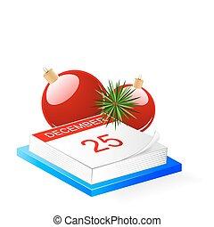 Desktop calendar and Christmas decoration
