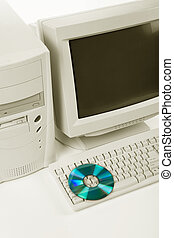 Desktop Computer and CD-ROM Drive close up shot