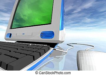 Detail of desktop computer over clouds background