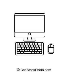 desktop computer, elszigetelt, ikon