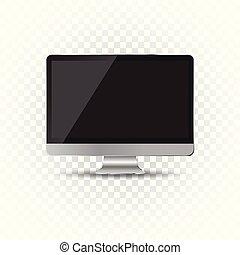 Desktop computer flat icon. Realistic vector illustration