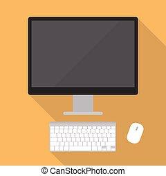 Desktop computer flat style