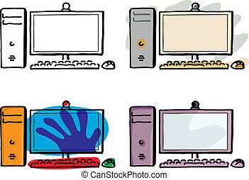 Four variations of a desktop computer with wireless keyboard and mouse.