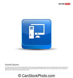Desktop computer icon - 3d Blue Button