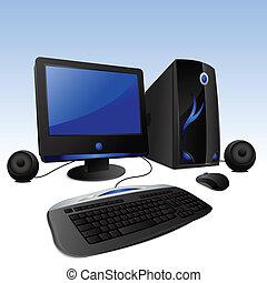 illustration of desktop comuter set on isolated background