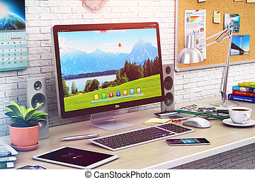 Desktop computer in modern office or home workspace