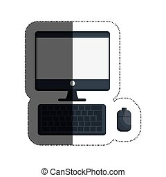 desktop computer isolated icon
