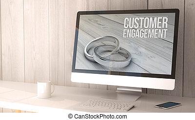 desktop-computer, kunde, verlobung