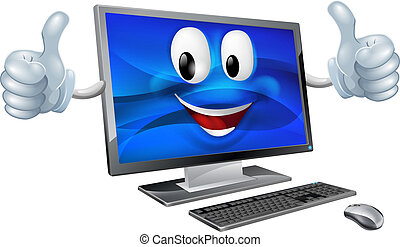 Desktop computer mascot - A cute happy cartoon computer ...