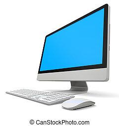 Desktop computer - Modern desktop computer with blue screen...