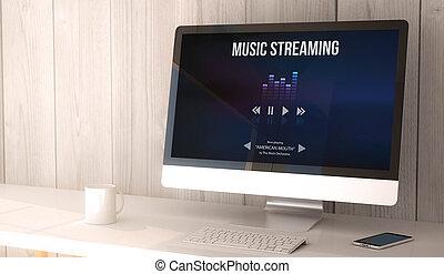 desktop-computer, musik, strömend