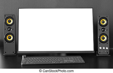 desktop computer on a desk. Monitor with blank screen. Mockup