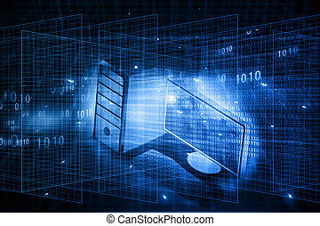 Desktop Computer on abstract tech background