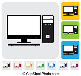 Desktop computer screen, CPU and keyboard- simple vector graphic. The illustration has simple colorful icons on green, orange & blue backgrounds & is useful for websites, blogs, documents, printing, etc