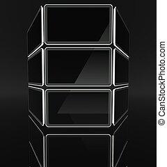 Desktop computer screens on black background, text space