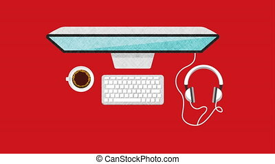 desktop computer technology , hd video animation