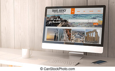 desktop computer travel agency
