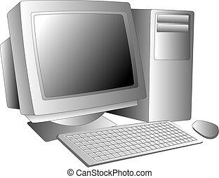 Vector illustration of a desktop computer workstation system