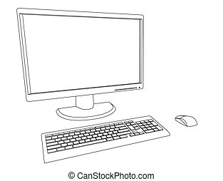 Desktop computer - Vector outlines illustration of desktop...