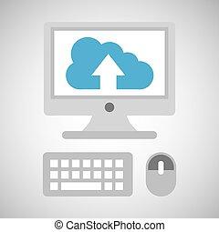 desktop-computer, vernetzung, wolke, aufwärts