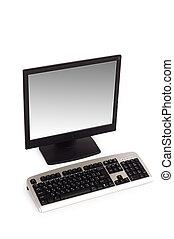 desktop computer, vrijstaand, op, de, witte achtergrond