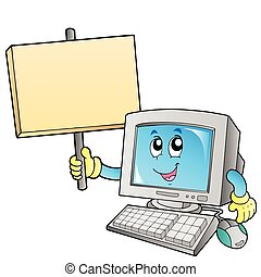 Desktop computer with blank board - vector illustration.