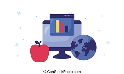 desktop computer with education online ,4k video animated