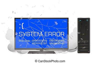 desktop computer with error screen