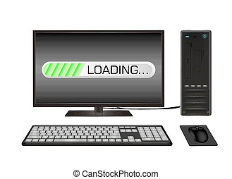 desktop computer with loading