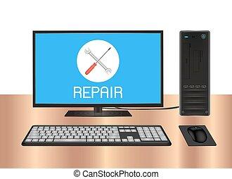 desktop computer with repair logo