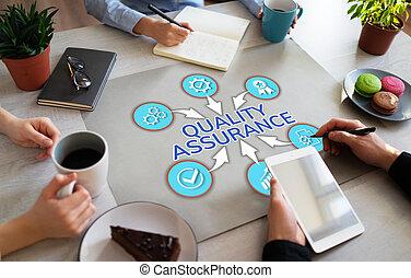 desktop., contrôle, garantie, client, concept, bureau, service, assurance qualité, satisfaction